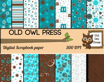 Scrapbook paper, teal and blue, retro, commercial use, 14 papers, Digital Scrapbook, Paper Pack,  Scrapbooking, Instant Download