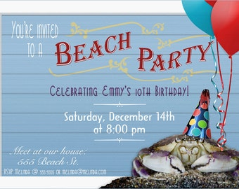 Beach Party Printed Invitation With Envelopes -- 5x7""