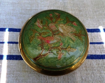 Vintage Brass Container Round Tin Box