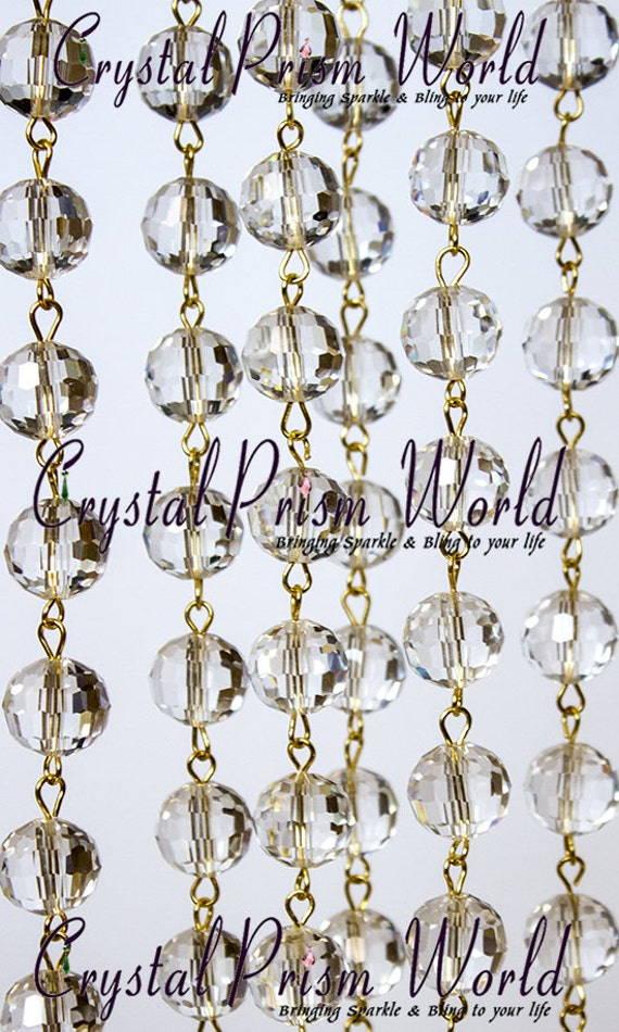 6 Feet Clear Crystal Chandelier Glass Lamp Beaded Chain 12mm