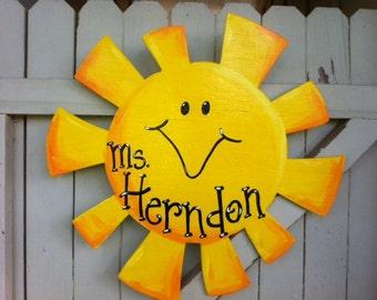 Sun Sunshine Wooden Door Hanger Teacher