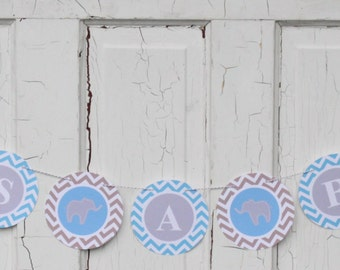 PREPPY CHEVRON ELEPHANT Baby Shower or Happy Birthday Party Banner Blue Grey - Party Packs Available