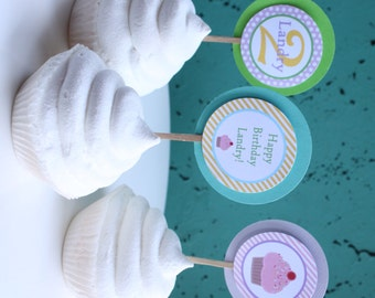 SWEET CUPCAKE Birthday or Baby Shower Party Cupcake Toppers 12 {One Dozen} Pastel Polkadots Stripes - Party Packs Available
