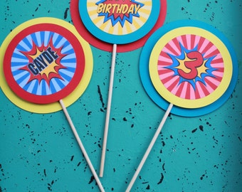 SUPERHERO Happy Birthday or Baby Shower 3 Piece Centerpiece - Party Packs Available