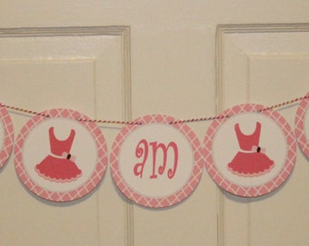 TUTU CUTE Birthday or Baby Shower Party Highchair Banner I am One Pink - Party Packs Available