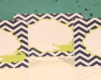 PREPPY CHEVRON ALLIGATOR Happy Birthday or Baby Shower  Buffet Cards Table Tents Food Labels {Set of 8} Lime Green Navy