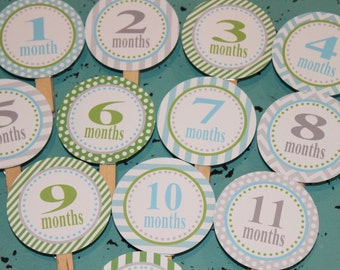 PREPPY MONOGRAM Theme 1st Birthday Photo Clips Banner Newborn - 12 months You Pick Colors