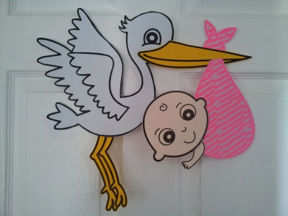 Large 14 stork baby shower door decoration by diapercake4less for Baby shower door decoration