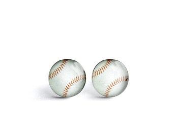 Baseball post earrings, Surgical steel stud, Sport earring studs, mens earrings, earrings for men, gift for him