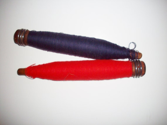 Vintage Thread Bobbins Set of 2 Red Navy Nautical Americana Country