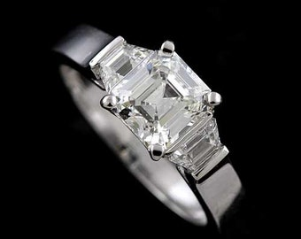 Modern Style Platinum 950 Trapezoid Diamonds Asscher Cut Engagement Ring Mounting Setting
