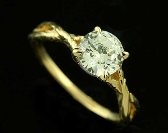 14k Yellow Gold Forever Brilliant Moissanite Split Shank Hand Crafted Organic Solitaire Engagement Ring