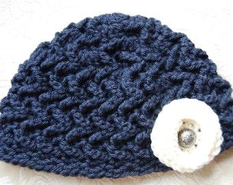 Girl's Navy Blue Crochet Hat with Flower, Girls Winter Skullcap, Winter Hat with Flower, Crocheted Winter Skullcap