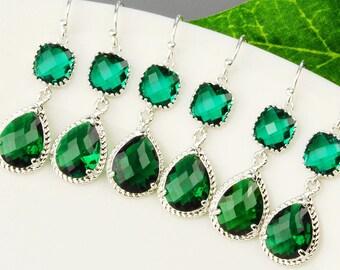 15% OFF SET OF 6 Bridesmaid Jewelry - Emerald Green Earrings - Silver Glass Drop Earrings - Bridesmaid Earrings - Crystal Earrings