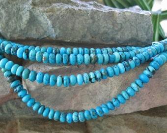 "Sleeping Beauty Turquoise Rondelle Beads 6mm Robin egg Blue 8"""