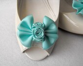Handmade bow shoe clips peacock inspired bridal shoe clips wedding accessories in aqua blue