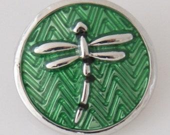 1 PC 18MM Green Dragonfly Enamel Silver Snap Candy Charm kb7717 CC0026