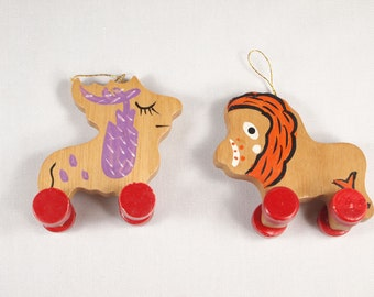 Vintage Wooden Lion and Moose Ornaments on Wheels