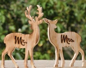 Wooden Deer- Sweetheart Table- Mr. & Mrs-Holiday Wedding-Christmas Wedding-Rustic Wedding-Table Signs-Signage
