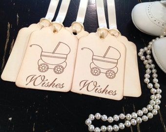 Gender Neutral Baby Shower Thank You Favor Tags Carriage Pram Vintage Inspired-Set of 12