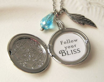 follow your bliss locket necklace for women with  inspirational jewelry  pendant for women  with inspiring motivational message