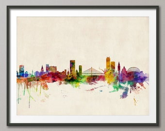 Liege Skyline, Liege Belgium Cityscape Art Print (536)