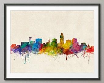 Lincoln Skyline, Lincoln Nebraska Cityscape Art Print (1008)
