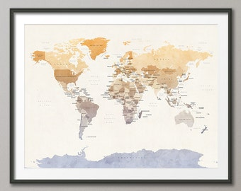 Political Map of the World Map, Art Print, 18x24 up to 24x36 (1089)