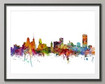 Buffalo Skyline, Buffalo New York Cityscape Art Print (1239)
