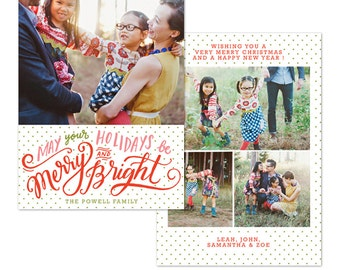 INSTANT DOWNLOAD - Christmas Card Photoshop template - E1085