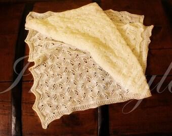 Luxury baby gift - 100% merino  blanket knit by hand