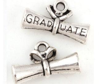 6 Graduation Diploma Charms, Antique Silver Tone 21 x 13 mm U.S Seller  - ts501