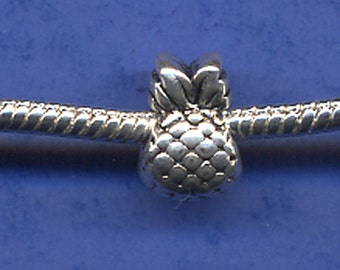 Pineapple European Charm Antique Silver Tone 12 x 7 mm - ts546