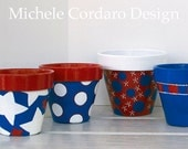 Hand Painted Flower Pot in Red, White & Blue