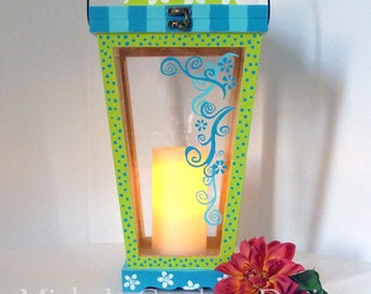 Whimsical Bright Lime Green & Aqua Lantern with Candle - LED battery powered