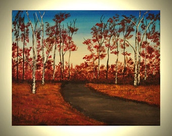 Aspen Trees 14x11 Original Acrylic Canvas Painting Red Leaves Birch Trees Painting