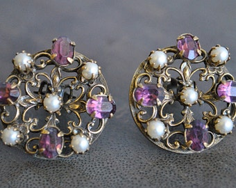 VINTAGE PURPLE and PEARL earrings