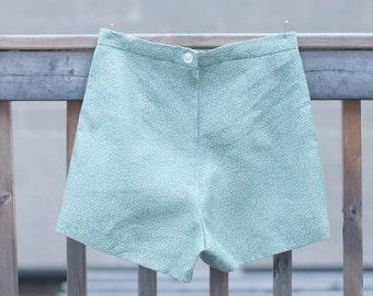 Retro Sage Green Ditsy Polka Dot High Waisted Shorts Medium