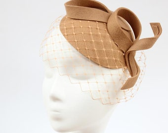 Bridal Hair Accessories,Felt Mini Hat,Fascinator,Camel Beige