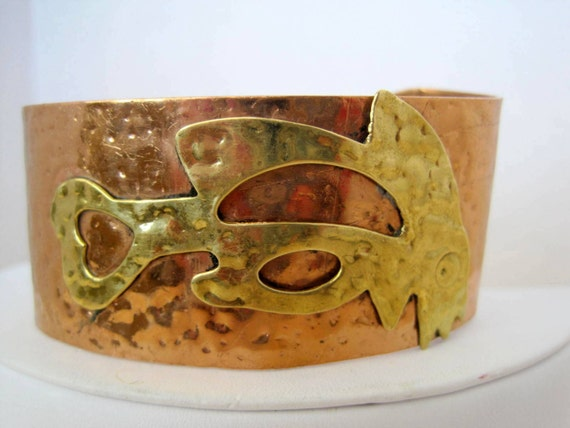 Copper Brass Bracelet - Mixed Metal - Vintage Wide Cuff
