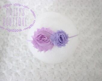 75% Off Pink Lavender Mini Lavender Shabby Flower Headband/ Newborn Headband/ Baby Headband/ Flower Girl/ Wedding/ Photo Prop