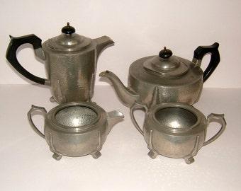 Victorian Arts & Crafts 4 Piece Pewter Teaset Poston and Co London Vintage Teapot Pewter Vintage Serving Vintage Kitchen Vintage Housewares