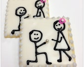 Marry Me Sugar Cookies Engagement Shower Favor Iced Decorated Wedding Cookies Stick Figure