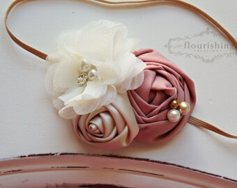 Pink and Ivory Rosette headband, pink flower headbands, cream headbands, baby headbands, newborn headbands, photography prop