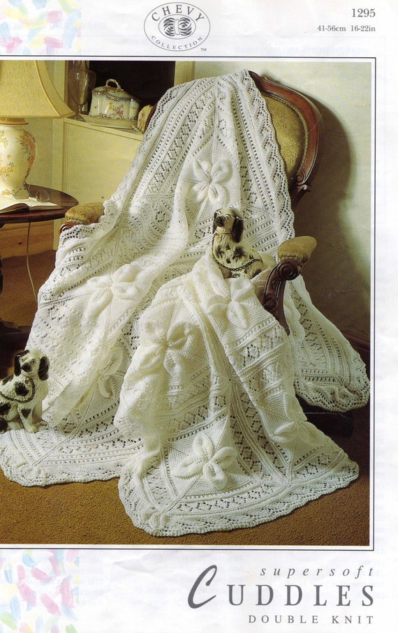 Vintage Baby Shawl Knitting Patterns : Baby Knitting Pattern DK 8ply Light Worsted Shawl and Cot