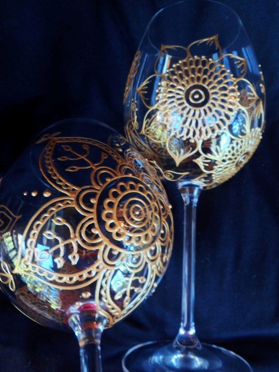 Mehndi Arm Glass : Items similar to custom wine glasses in henna style