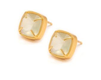 Prehnite Stud Earrings - Gold Gemstone Stud Earrings - Prehnite in Yellow Gold - 24k Gold Vermeil - Studs