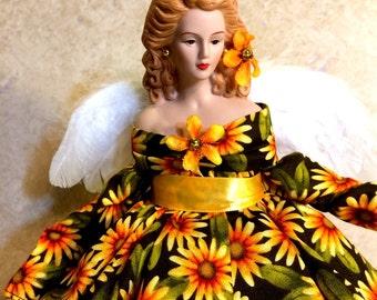 "ANGEL Tree Toopper, Porcelain Angel, OOAK Gift Angel, ""DAISY""  Handmade Doll, Daisy Tree Topper"