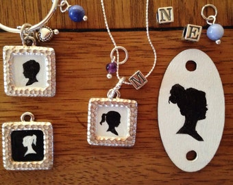 Silhouette Painting with Custom Birthstone & Initial Necklace