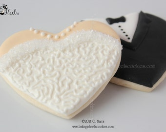 Bride and Groom Decorated Cookies, Wedding Cookies, Bride Dress Cookies, Tuxedo Cookies, Wedding Favors, Shower Favors